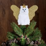White Kitten With Gold Star And Wing Unique Christmas Tree Toppers