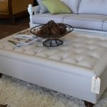 White Large Square Storage Ottoman On Fur Rug With White Patterned Sofa