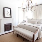 White Master Bedroom With Fireplace And Mirror Plus Small Loveseat For Bedroom With One Cool Sofa