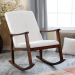 White Modern Rocking Chair For Nursery With Wooden Bases And Grey Wood Floor