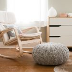 White Modern Rocking Chair For Nursery With Wooden Frame Round Ottoman White Cabinet And Curtains