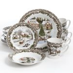 White Thanksgiving Dinnerware Sets With Winter Theme