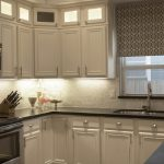 White Wooden Kitchen Set Cabinet With Carrara Marble Backsplash