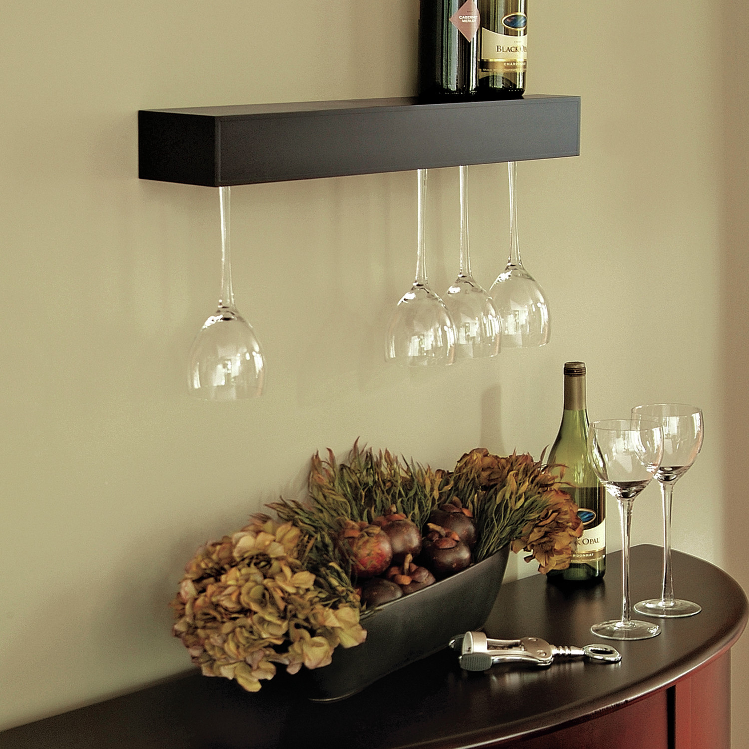 Wine Shelf And Gl Wall Holder Near To Table