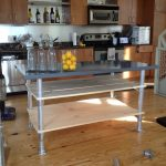 Wood And Steel Design Of Kitchen Island