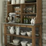Wooden Baker Rack Furniture For Kitchen Stuffs Grey Wall And Warm Carpet