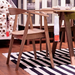 Wooden Ikea Stockholm Dining Table With White Black Stripped Rug