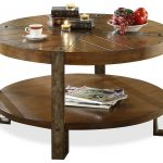 Wooden Round Coffee Tables With Storage In Rustic Style