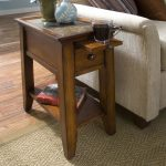 Wooden Small End Table With Drawer And Rack Plus White Chair And RUg