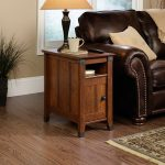 Wooden Small End Table With Drawer Leather Brown Sofa And Table Lamp