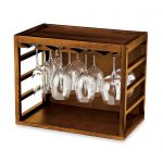 Wooden Wine Glass Holder In Box Shaped