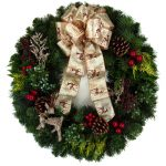 Woodland Pictures Of Christmas Wreaths With Gold Deer Ribbon