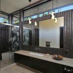 Furniture Tiles Brown Countertop Bamboo Pendant Lamps Cabinet Mirror Floor