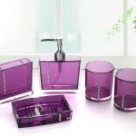 A package of luxurious bath accessories in purple