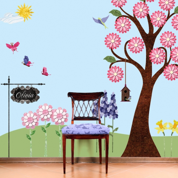 Beautiful Wall Painting Lied On Washable Paint A Simple Wooden Chair