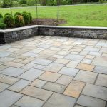 Blue stone paving installation for outdoor
