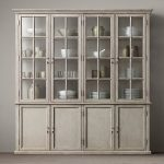 Cool shabby white sideboard with hutch for keeping and organizing the dishware