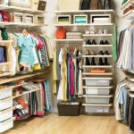 Corner storage system by Elfa for wardrobe footwear and bags