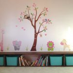 DIY Long Bench With Storage And Turquoise Baskets Plus Animal Theme Wallpaper