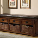 Dark Brown Long Bench With Storage And Cushion
