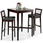 Dark brown and tall bar table with a pair of bar chairs