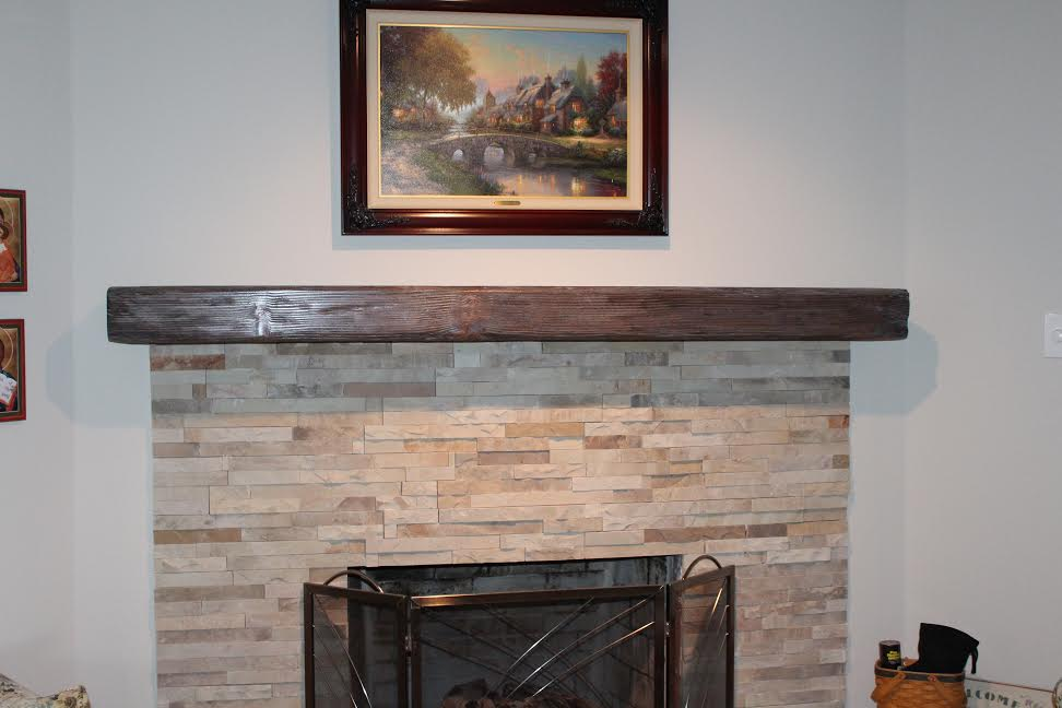Dark Brown Wood Finished Mantel For Metal Fenced Fireplace Unit