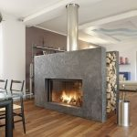 Double sided gas fireplace design idea