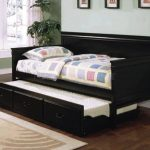 Extra size daybed with trundle made of black brown finished wood