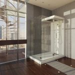 Frameless glass door standup shower design idea