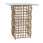 Glass Top Accent Table With Webs Look Like Base