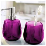 Gorgeous purple glass accessories for tootbrush and liquid bodysoap