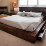 Hardwood Zen platform bed frame idea with pull out storage units and headboard
