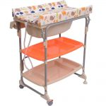 Larger foldable changing table with casters