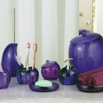 Luxurious purple bath accessories which are made of glass