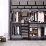 Metal storage system by Elfa for organizing and keeping clothes and footwear