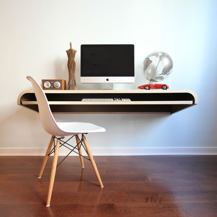 Minimalist Floating Media Desk Ikea With Pull Out Board For Keyboard A Chair In White