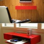 Modern minimalist floating media shelves in red with pull out shelf addition