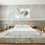 Oversize Zen platform bed frame made of reclaimed logs