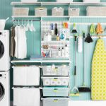 Small Elfa storage system for laundry and cleaning room