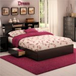 Standard size South Shore bed frame idea with pull out drawers and headboard red area rug a corner storage system