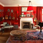 Stunning red room decor idea with guitar collections as the wall arts