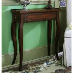 Tall console table in classic style and made of dark brown finished wood