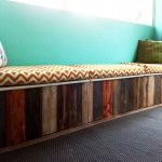 Unique Wooden Long Bench With Storage And Stylish Cushion Plus Turquoise Wall