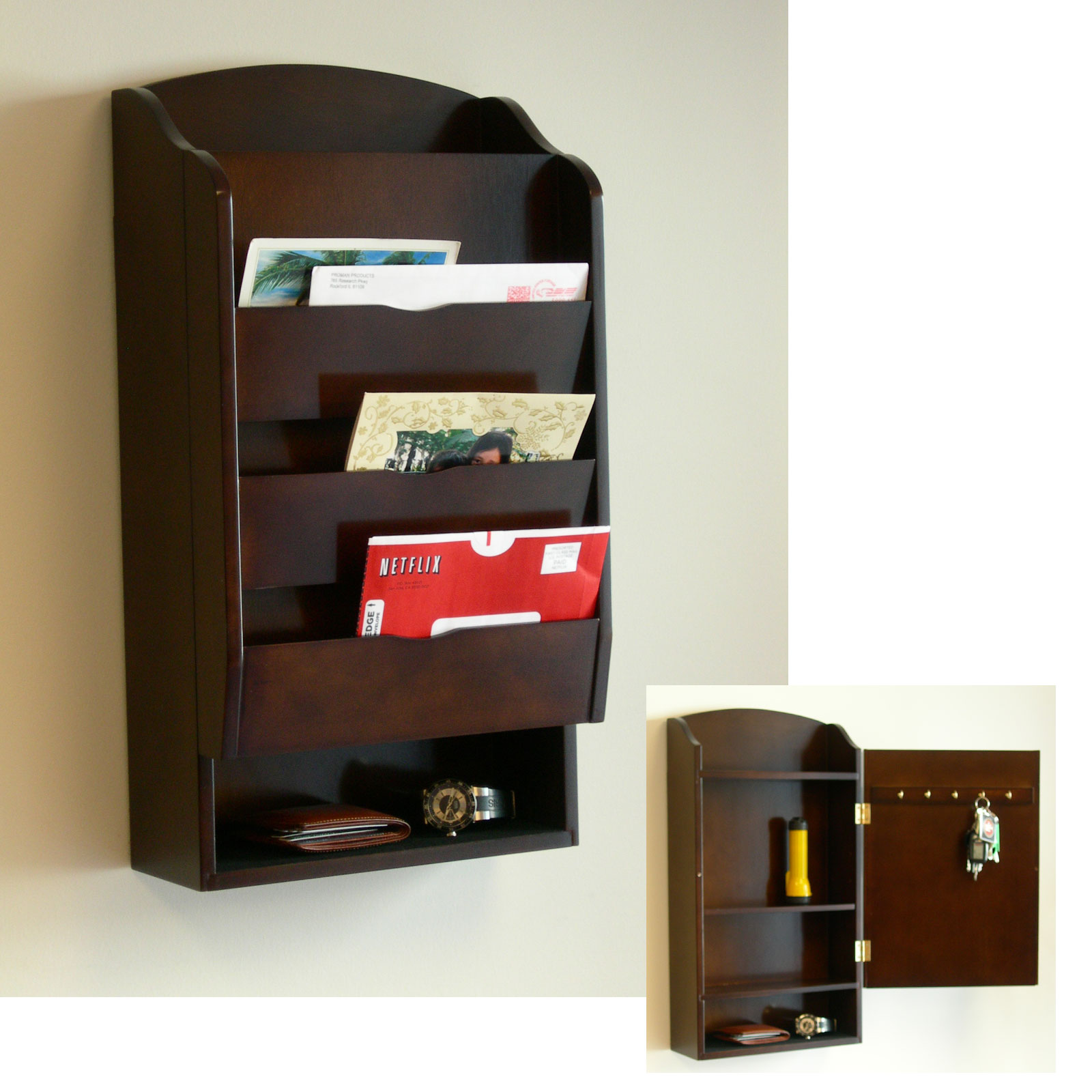Wall Mounted Wood Mail Organizer With Shelf And Storage E Addition Behind It