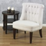 White corner chair with round wood side table from Avenue Six