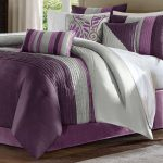 White purple bedding set idea with less gray decorations