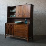 Wood sideboard with hutch in vintage