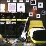 music theme bedroom decorating idea with black and yellow dominant colors