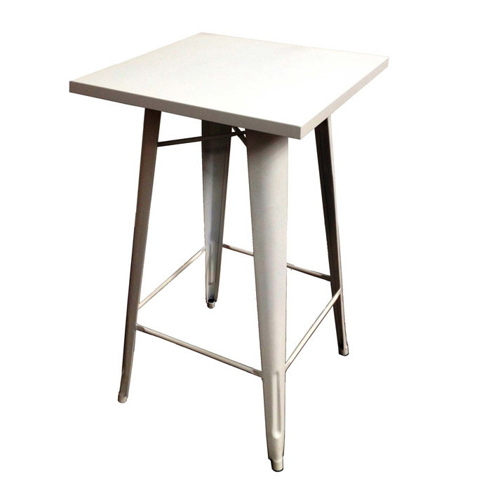 Tall Bar Table With White Square Tabletop