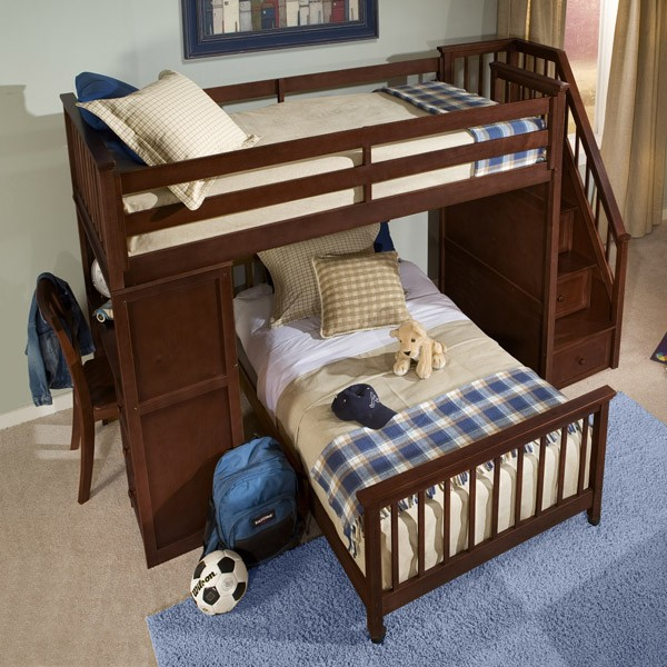 Twin Sized Bed Bunk Over Full With Side Stairs And Desk